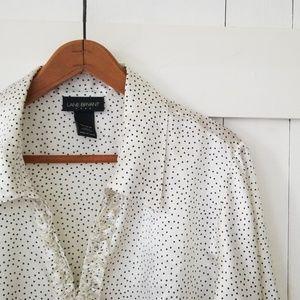 Lane Bryant | white ruffle placket satin top